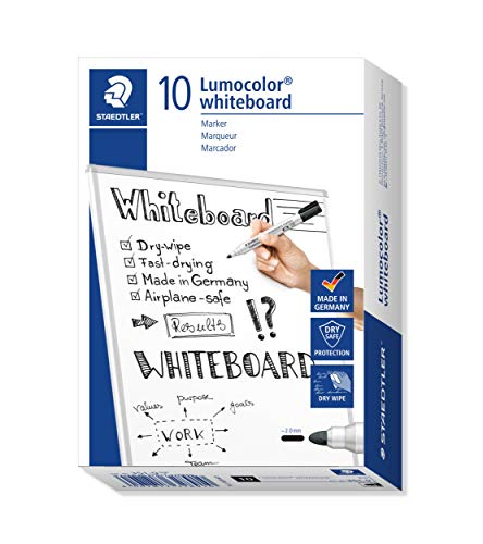 Staedtler Lumocolor Whiteboard Marker, 10 Pennarelli di Colore Nero, Punta Tonda, 351-9, Nero