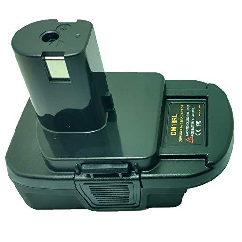 DM18RL Adapter Converter, Battery Adapter for Dewalt for Milwaukee M18 18V/20V Lithium ion Batteries Convert to for Ryobi P108 18V Li-ion NI-CD NI-MH ABP1801 Battery, with USB Port