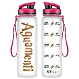 LEADO 32oz 1Liter Motivational Water Bottle with Time Marker - Aguamenti HP Fans Merchandise - Funny Potterhead Birthday Gifts for Women, Men, Friend, Mom, Dad, Wife, Husband - Drink More Water Daily