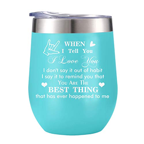 Personalized ValentinesGifts for Couples, Unique Engagement Anniversaries Gifts for couples, His and Hers Gifts Funny Travel Wine Tumbler Mugs with lid (Blue)