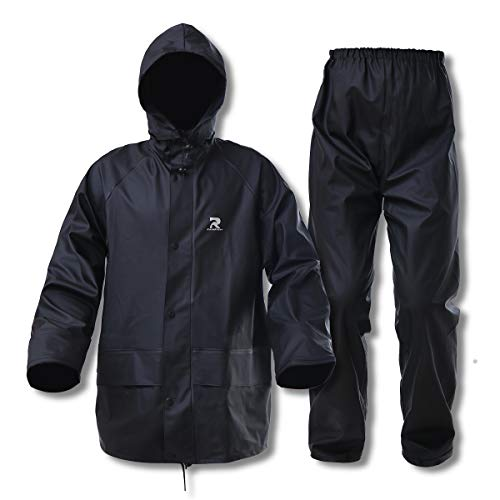 Rain Suits for Men Waterproof Heavy Duty Foul Weather Gear Rain Coat Jacket and Pants(Black, XX-Large)
