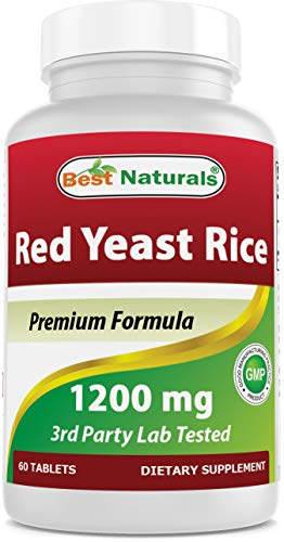 Best Naturals Red Yeast Rice 1200 Mg Tablet for Healthy Cholesterol Level, 60 Count