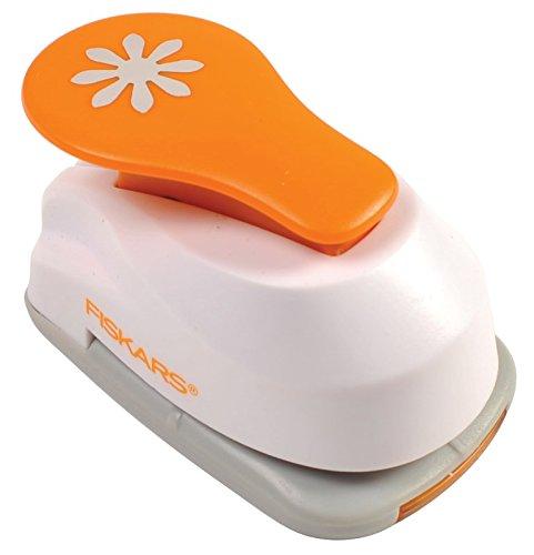 Fiskars Perforatore a leva, Fiore,  2,5 cm, Per mancini e destrorsi, Acciaio di qualit/Plastica, Bianco/Arancione, Lever Punch, M, 1004645