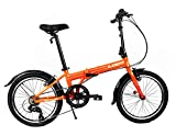 EuroMini Via 26lb Folding Bike-Lightweight Aluminum Frame Genuine Shimano 7-Speed 20' Folding Bike with Fenders (Orange)