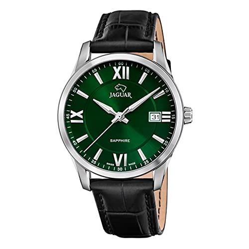 JAGUAR J883/3 Herren-Armbanduhr aus der Kollektion Acamar, 40 mm, grünes Gehäuse mit schwarzem Lederarmband