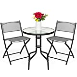 Best Choice Products 3-Piece Patio Bistro Dining Furniture Set w/Textured Glass Table Top, 2 Folding Chairs, Steel Frame, Polyester Fabric - Gray