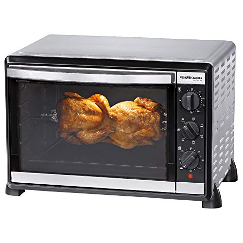 ROMMELSBACHER Back & Grill Ofen BG 1805/E - 42 Liter Backraum, 7 Heizarten, Umluft, Drehspieß, Temperaturen von 80 - 230 °C, Doppelverglasung, Innenbeleuchtung, Zeitschaltuhr, 1800 W, Edelstahl