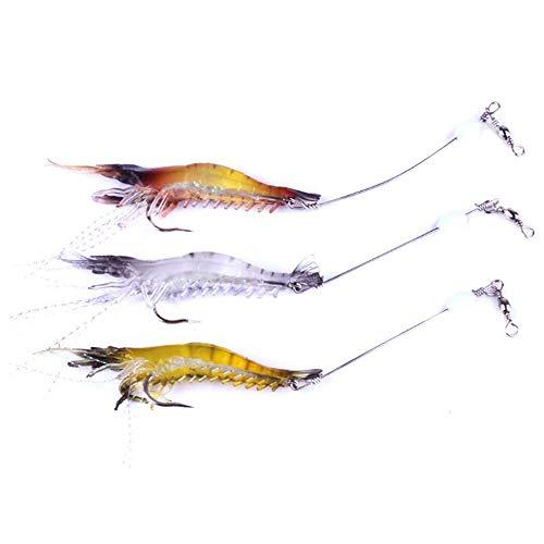 VOANZO 6 PCS Morbido Esca per Pesca di gamberetti Esca Morbida con Amo Esca per Pesca in Mare Colore Misto per Orata a Testa Piatta Merlano Snapper