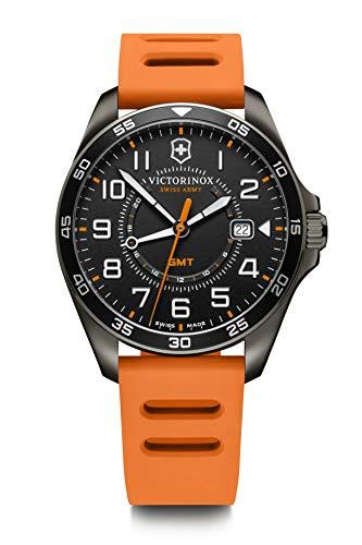 Victorinox FieldForce Sport GMT Swiss-Made Herrenuhr in Schwarz mit orangefarbenem Silikonarmband 241897