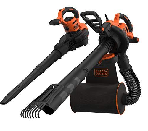 Black+Decker 3-in-1 Elektro Laubsauger & Laubbläser (3.000 Watt, mit Häcksler + aufsteckbarem Laubrechen, 72l Fangsack-Rucksack – hohe Blasgeschwindigkeit & verstellbare Saugleistung) BEBLV301