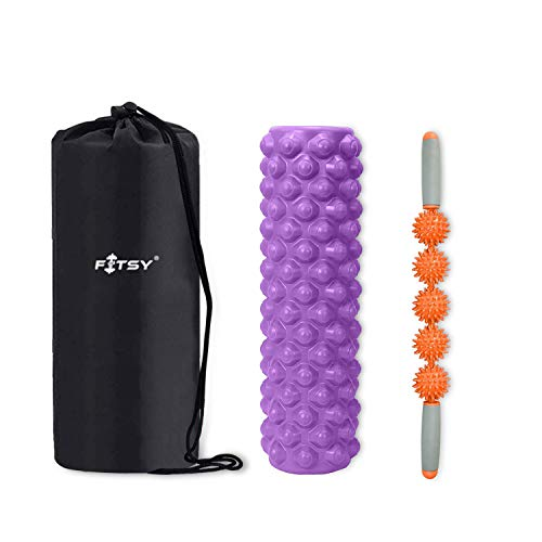 FITSY® 2-in-1 Trigger Point Foam Roller Set - Muscle Rollers Set Includes Deep Tissue Massage...