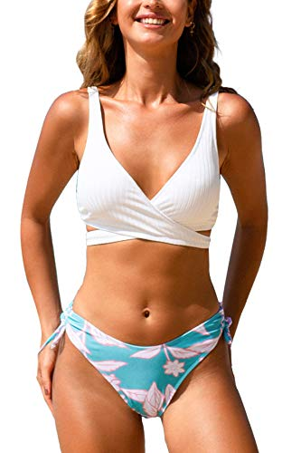 41rWOkFoXYL. SL500 Design:Wrap Drawstring Mid Waisted Bikini With An Adjustable Wrap That Ties In The Back.Floral Mid-Rise Bikini Bottom About Cup Style: Removable Pads Garment Care: Regular Wash. Recommend with Cold Water. Do not Use Bleach. Do not Tumble Dry.
