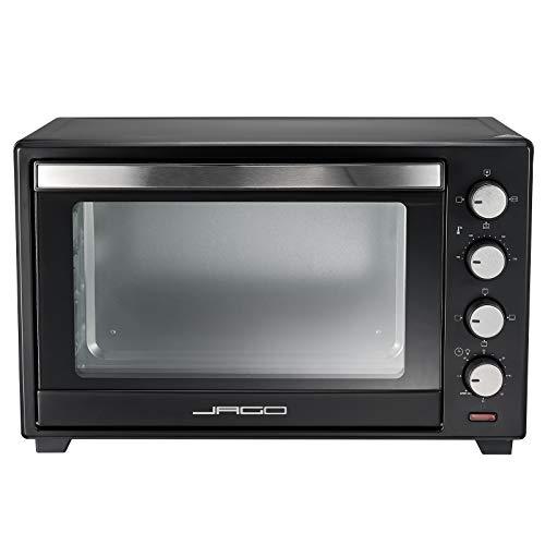 Jago® Minibackofen mit Umluft - Innenbeleuchtung, elektrisch, Doppelglastür, Timer, 100-230 °, 2000W, 60L, 5 Heizarten, Drehspieß, Schwarz - Mini Backofen, Mini-Küche, Grillofen, Pizza-Ofen