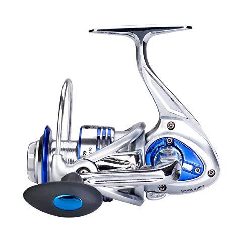 Diwa Mulinelli da pesca con spinning per bobine Ultraleggera Ultraleggera Potente Trota bassa Attrezzatura per carpe Corpo in metallo Mulinelli da pesca sul ghiaccio (4000)
