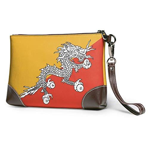 Ahdyr embrague de cuero para mujer Bandera de Bután Cartera