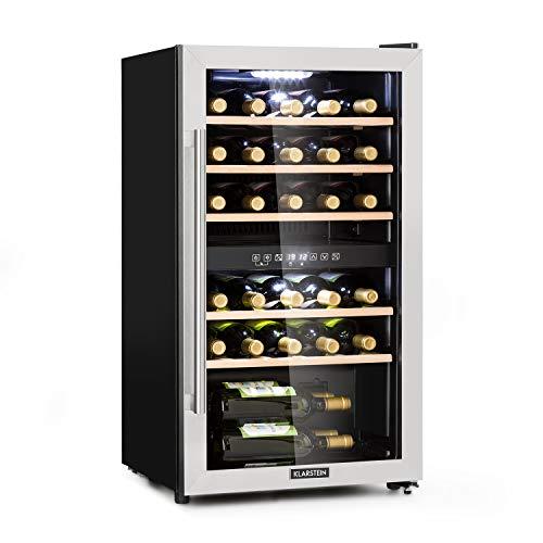 Klarstein Vinamour 29D - Cantinetta, Frigorifero per Vino, 2 Zone, 80 L, 29 Bottiglie, Temperatura...