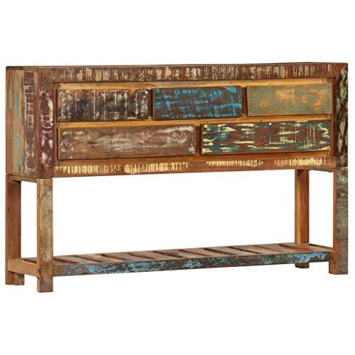 vidaXL Credenza Stile Vintage Robusta 5 Cassetti e Ripiano Madia Cassettiera Tavolino Laterale 120x30x75 cm in Legno Massello di Recupero