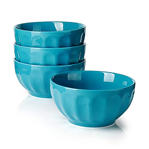 Sweese Porcelain Fluted Bowls, Steel Blue