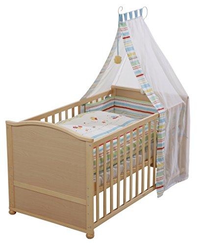 roba Komplettbett Set\', Babybett natur inkl. Bettwäsche, Himmel, Nest, Matratze, Kombi Kinderbett 70x140cm umbaubar zum Junior Bett