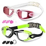 COOLOO Swim Goggles Men, 2 Pack Swimming Goggles for Women Kids Adult Anti-Fog, Green & Red (Unknown Binding)