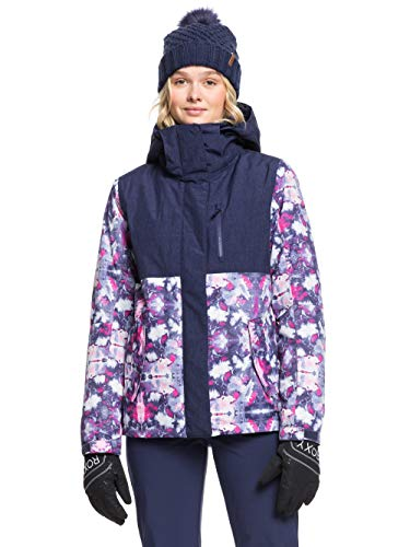 Roxy Jetty Block, Giacca da Snowboard Donna, Medieval Blue Cloudy Day, L