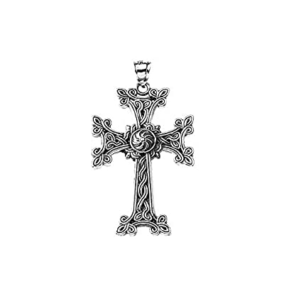 This large pendant showcases a Khachkar Cross, a decorative-architectural sculptures based on the ancient national traditions and made in a variety of shapes. An Armenian Apostolic Church cross pendant for chain necklaces or charm for bracelets with ...