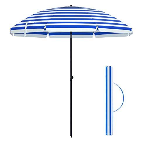 SONGMICS Sonnenschirm, 200 cm, Sonnenschutz, achteckiger Strandschirm aus Polyester, Schirmrippen aus Glasfaser, knickbar, mit Tragetasche, Garten, Balkon, Schwimmbad, Blau-weiß gestreift GPU65WU