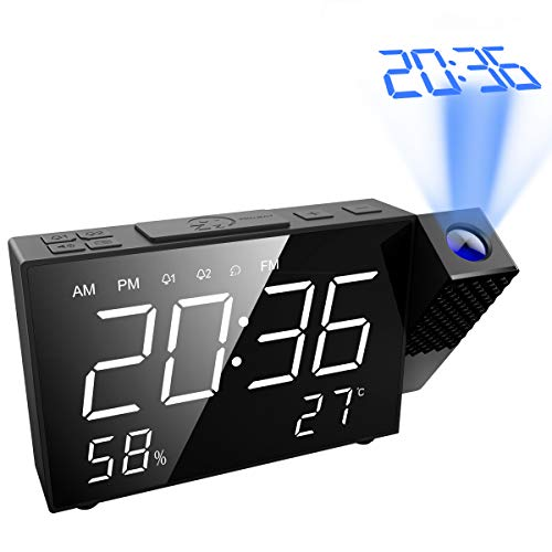 """AMIR Projection Alarm Clock, 6.5"""" Projection Clock, FM Radio with Temperature and Humidity, 12/24 Hours, Dual Alarm with USB Charging Portor for Home, Bedroom, Kitchen"""