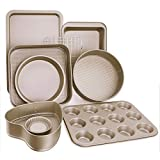 Esonmus 9pcs Nonstick Carbon Steel Bakeware Set Includes Bread Pan, Baking Sheet, Cookie Sheet, Springform Shaped Round Cake Pan, Cake Muffin Mold Cup And Cooling Rack, DIY Baking Tools