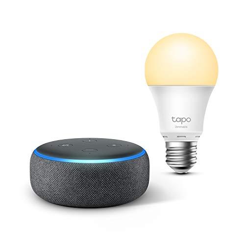 Echo Dot (3.ª generación), Tela de color antracita + TP-Link Tapo...