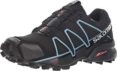 SALOMON Speedcross 4 GTX Women's Waterproof Trail Running Shoes, Black (Black/Black/Metallic Bubble Blue), 6.5 UK