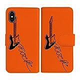 sslink iPhone12 / iPhone12 Pro アイフォン12プロ 対応 手帳型 オレンジ ケース エレキギター……