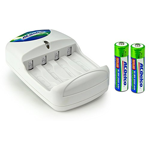 ACDelco AA and AAA Battery Charger, Includes 2 AA Batteries