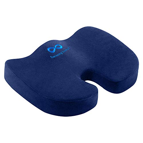 Everlasting Comfort Seat Cushion for Office Chair - Tailbone Cushion - Coccyx Cushion - Sciatica Pillow for Sitting (Navy Blue)