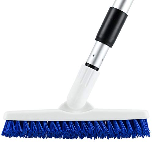Elitra Swivel Grout Scrubber with Long Handle & Tough Bristles for Narrow & Wide Kitchen Shower Tub Tile Surfaces, Silver Blue