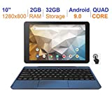 RCA Newest Best Performance Tablet Quad-Core 2GB RAM 32GB Storage IPS HD Touchscreen WiFi Bluetooth with Detachable Keyboard Android 9 Pie (10', Navy)