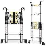 Teenza® 3.2M Telescopic Ladders, Multi-Purpose Aluminium Extensionable Ladder with Hooks and Stabilizer, DIY Portable Loft Ladders EN131 /150KG