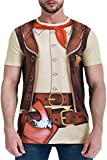 Funny World Men's Western Cowboy Costume T-Shirts, 3X-Large, Brown