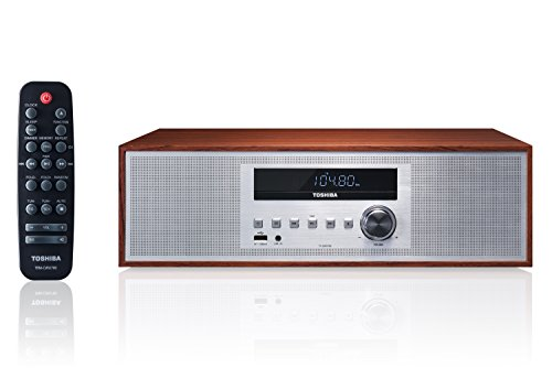 Toshiba TY-CWU700 Vintage Style Retro Look Micro Component Wireless Bluetooth Audio Streaming & CD Player Wood Speaker System + Remote, USB Port for MP3 Playback, FM Stereo Digital Tuner, AUX Input