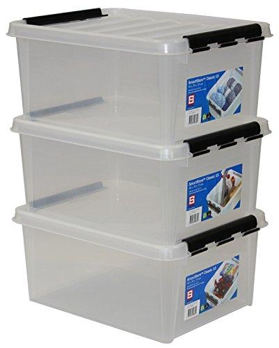 SmartStore 35083903 3er-Set Clipbox Smart Store Classic 15, 14 Liter , transparent