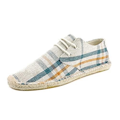 Alpargatas para Hombre, Moda, clásico, a Rayas, a Cuadros, con Cordones, Zapatos Casuales, Planos, Antideslizantes, Moda, Zapatos de Lona Bajos