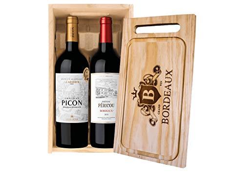 Cassetta 2 bottiglie: Bordeaux Suprieur La Rserve Chteau Picon e Bordeaux Chteau Pericou Maison Le Star 0,75 L, Cassetta di legno