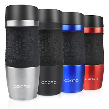 Opard Travel Mug Leakproof 350ml(12oz) Double-Walled Vacuum Insulated Stainless Steel Coffee Mug BPA Free for Men and Women (Silver)