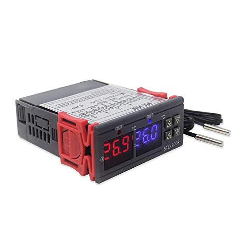 RUIZHI STC-3008 Regolatore Digitale Termostato Regolatore di Temperatura Doppio Display a LED Termoregolatore con Doppio Sensore NTC Sonda per Incubatrice Congelatore Serra Rettile 110-220v