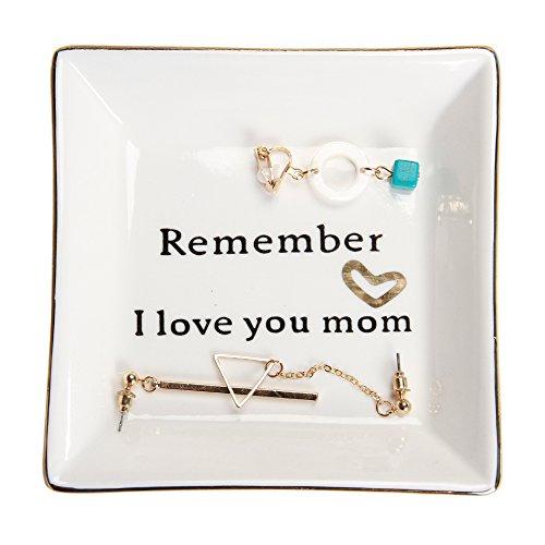 HOME SMILE Ceramic Ring Dish Decorative Trinket Plate -Remember I Love You Mom