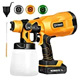 Cordless Paint Sprayer Gun, Power Paint & HVLP Sprayer Gun with 3 Spray Patterns, 2.0A Battery and...