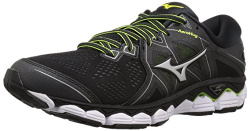 Mizuno Men's Wave Sky 2 Running Shoe, Black/Safety Yellow, 8.5 D US