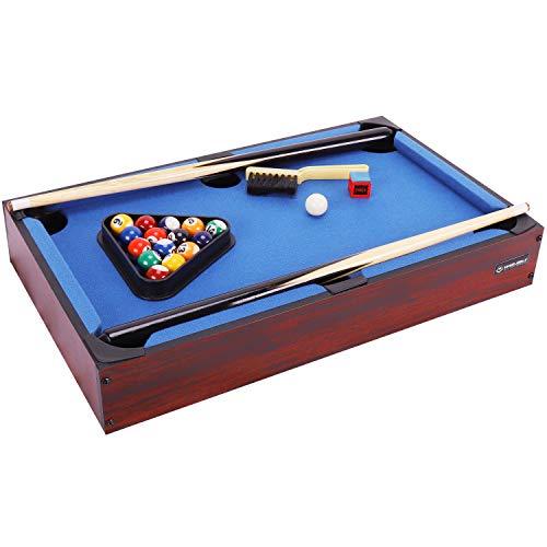 WIN.MAX Mini Billardtisch, Classics Billardtische, Blau, Tischbillard für Kinder, 51 x 31 x 10 cm