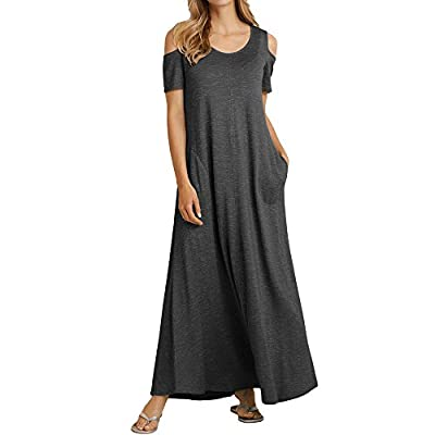Feature:Cold Shoulder Short Sleeve maxi dress,Round neck Loose fit/casual Cold Shoulder maxi dress for women.Long Dress with Pockets.long sundress, swing dress, floor length dresses, summer beach long maxi dresses for women with pockets.soft material...