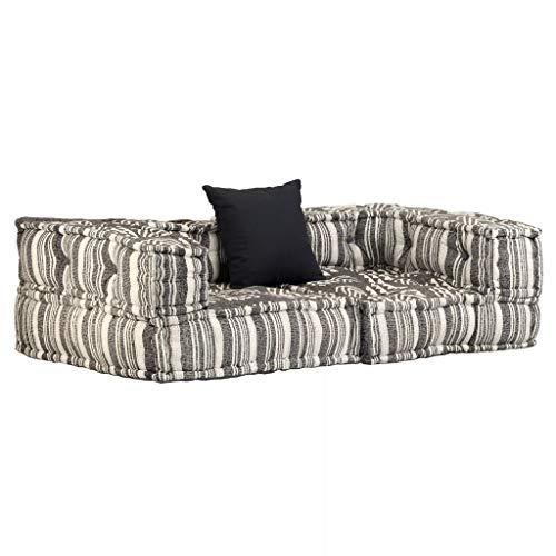 vidaXL Divano Modulare a 2 Posti con Braccioli in Tessuto a Strisce Letto Sofa